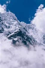 Preview iPhone wallpaper Thick clouds, snow mountain