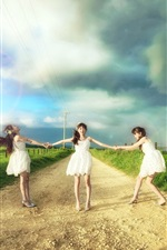 Preview iPhone wallpaper Three Asian girls, road, clouds, fields