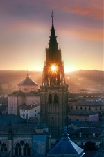 Preview iPhone wallpaper Toledo, Spain, church, city, evening, sunset