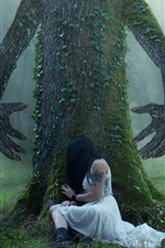 Preview iPhone wallpaper Tree, hands, girl, forest, creative