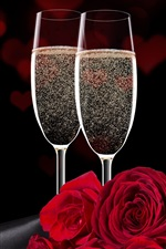 Preview iPhone wallpaper Two glass cups champagne, roses, bubbles