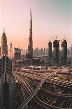 iPhone fondos de pantalla Emiratos Árabes Unidos, Dubai, rascacielos, carreteras, mañana