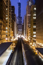 Preview iPhone wallpaper USA, Chicago, city, buildings, metro, night, lights