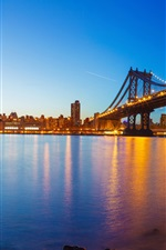 Preview iPhone wallpaper USA, Manhattan, New York, river, evening, bridge, lights