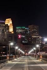 Preview iPhone wallpaper USA, Minneapolis, Minnesota, bridge, night, lights, buildings