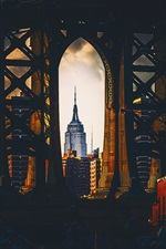 Preview iPhone wallpaper USA, The Empire State Building, New York, bridge, arch, night