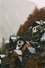 Preview iPhone wallpaper Upper Austria, Hallstatt, houses, mountains