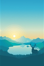 Preview iPhone wallpaper Vector design, landscape, mountains, lake, trees, deer