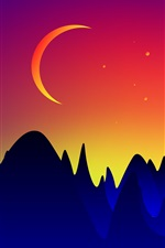 Preview iPhone wallpaper Vector design, mountains, moon, dusk