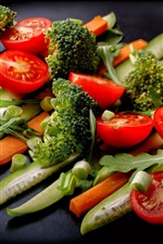 Preview iPhone wallpaper Vegetables, broccoli, tomatoes, cucumbers, carrots