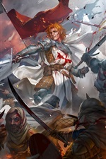 Preview iPhone wallpaper Warriors, battle, swords, crusaders, blood, art picture