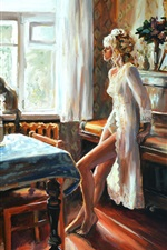 Preview iPhone wallpaper Watercolor painting, room, girl, piano, window