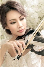 Preview iPhone wallpaper White skirt Asian girl play violin