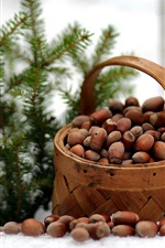 Preview iPhone wallpaper Winter, basket, nuts, spruce