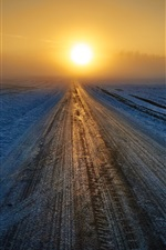 Preview iPhone wallpaper Winter, road, sunrise, snow, fog, morning