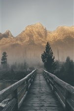 Preview iPhone wallpaper Wood bridge, mountains, river, fog, morning