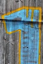 Preview iPhone wallpaper Wood door, one, graffiti