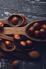 Preview iPhone wallpaper Wood spoons, hazelnut