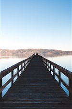 Preview iPhone wallpaper Wooden bridge, lake, people, mountains
