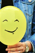 Preview iPhone wallpaper Yellow balloon, smiley face, hands
