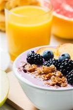 Preview iPhone wallpaper Yogurt, orange juice, coffee, half an apple