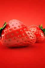 3D strawberry, red background