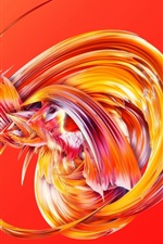 Abstract figure, red background