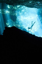 Preview iPhone wallpaper Akumal, Mexico, diver, underwater, light rays