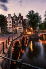 Preview iPhone wallpaper Amsterdam, Netherlands, bridge, river, lights, city, night
