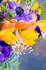 Preview iPhone wallpaper Anemones, tulips, colorful flowers, vase