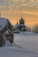 Preview iPhone wallpaper Arkhangelsk oblast, Russian, church, village, snow, trees, sunset