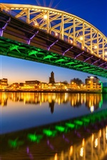 Preview iPhone wallpaper Arnhem, Netherlands, John Frost Bridge, lights, river, city night