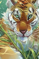 Preview iPhone wallpaper Art drawing, tiger and fish