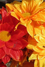 Preview iPhone wallpaper Artificial flowers, yellow and red