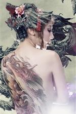 iPhone fondos de pantalla Vista posterior de la muchacha asiática, tatuaje, dragón, imagen de arte