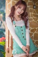 Preview iPhone wallpaper Asian girl, blue skirt