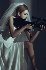 iPhone обои Азиатская девушка, невеста, снайпер, винтовка