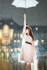 Preview iPhone wallpaper Asian girl in the rain, umbrella, city night, lights, glare