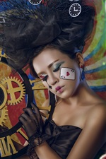 Asian girl, makeup, clock, love hearts, creative design