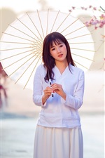 Preview iPhone wallpaper Asian girl, white dress, umbrella, sakura