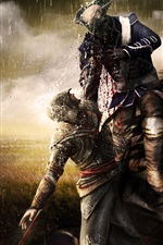 Preview iPhone wallpaper Assassin's Creed, horse, swamp, blood