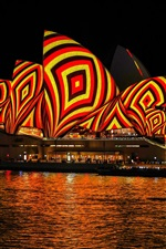 Preview iPhone wallpaper Australia, Sydney, night, beautiful lights, city, people, sea