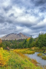 Autumn, grass, trees, river, mountains, clouds