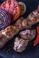 Preview iPhone wallpaper BBQ, potatoes, kebab, tomato, onion