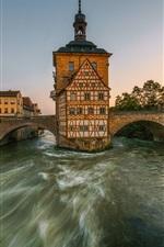 Bamberg, Bayern, Germany, river, bridge, houses, city