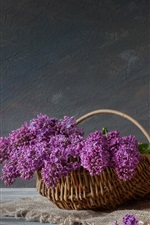 Preview iPhone wallpaper Basket, lilac, kettle, cup