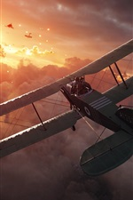 Preview iPhone wallpaper Battlefield 1, planes, fighter, attack, clouds