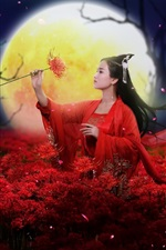 Preview iPhone wallpaper Beautiful Chinese girl, retro style, red dress, flowers, moon