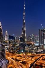 iPhone fondos de pantalla Hermosa ciudad de Dubai en la noche, rascacielos, torre, luces, carreteras