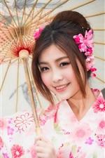 iPhone fondos de pantalla Hermosa chica japonesa, sonrisa, kimono, paraguas